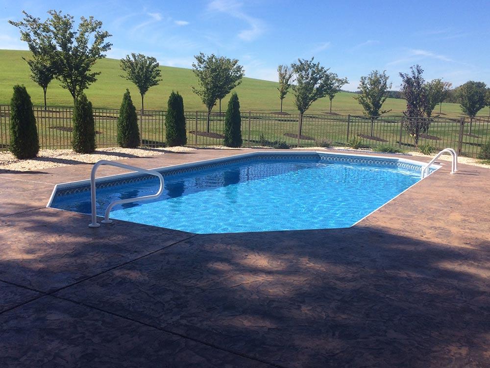 Pleasure pool deck pool gallery for Pool decks for inground pools