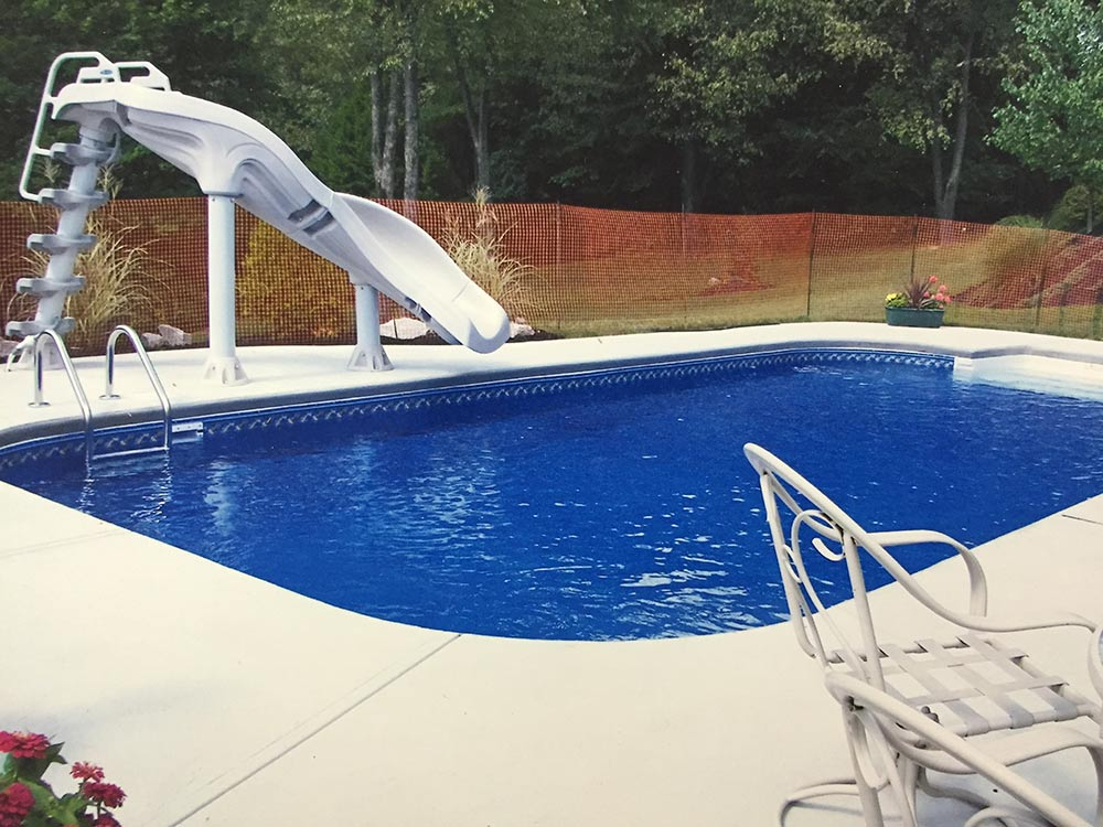 Inground Pool South Hills Pittsburgh Slide Patio White