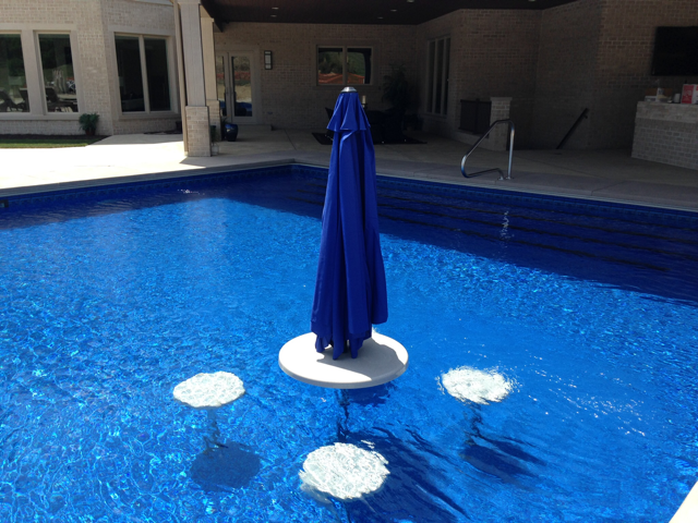 Umbrella Table with Seats in Pool